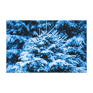 Winter Snow Christmas Tree Stretched Canvas Prints