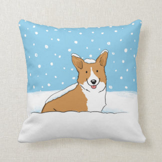 Winter Snow Corgi - A Happy Dog Design Cushion