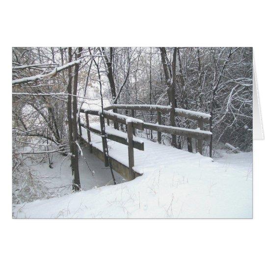 Winter Snow Covered Bridge Christmas Card