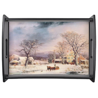 Winter Snow Horse Sleigh Country Serving Tray