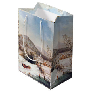 Winter Snow Horse Sleigh Ride Pond Gift Bag