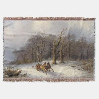 Winter Snow Horses Sleigh Forest Throw Blanket