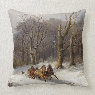 Winter Snow Horses Sleigh Ride Forest Throw Pillow