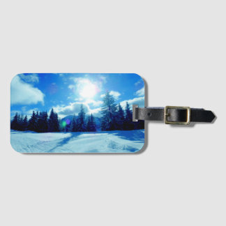 Winter snow landscape luggage tag