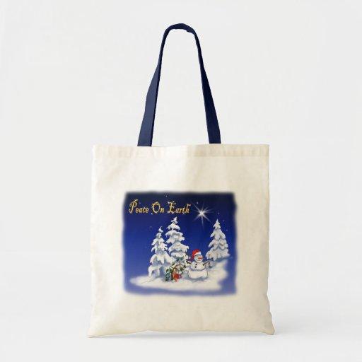 Winter Snow Man Peace on Earth Bag