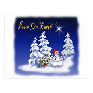 Winter Snow Man Peace on Earth Post Card