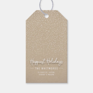 Winter Snow Modern Happy Holidays Gift Tags
