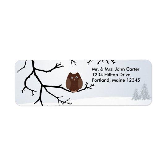 Winter Snow Owl Address Labels