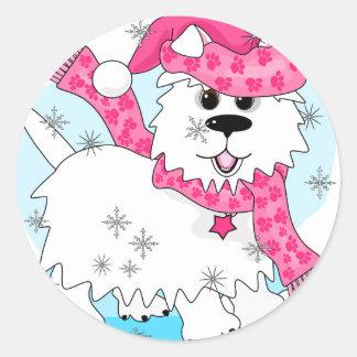 Winter snow play round sticker