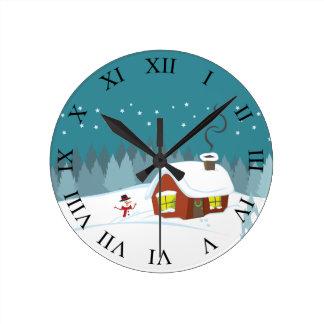 Winter Snow Round Clock