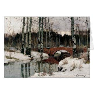 Winter snow scene bridge with birch trees card