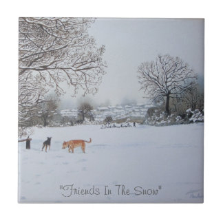 winter snow scene landscape with trees painting small square tile