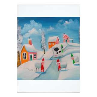 winter snow scene sheep folk art card