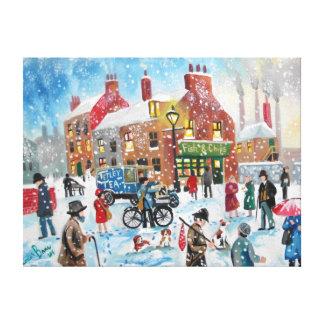 Winter snow scene Tetley Tea van original umbrella Gallery Wrap Canvas