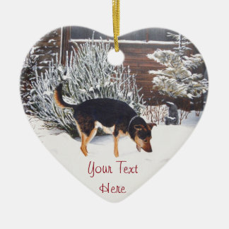 winter snow scene with cute black and tan dog christmas ornament