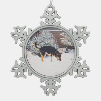 Winter snow scene with cute black and tan dog pewter snowflake decoration