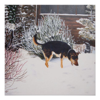 Winter snow scene with cute black and tan dog perfect poster