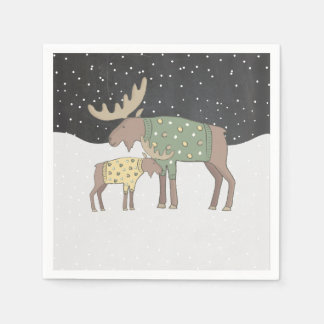 Winter snow Shower mama and baby moose napkins Paper Serviettes