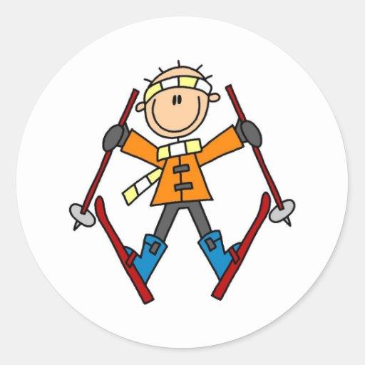 Winter Snow Ski Round Sticker