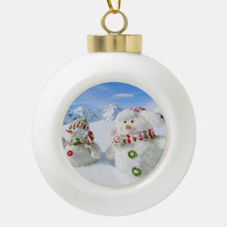 Winter, Snow, Sun And Fun, Christmas Ceramic Ball Christmas Ornament