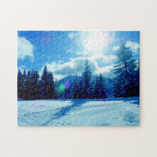 Winter snow sunshine landscape jigsaw puzzle