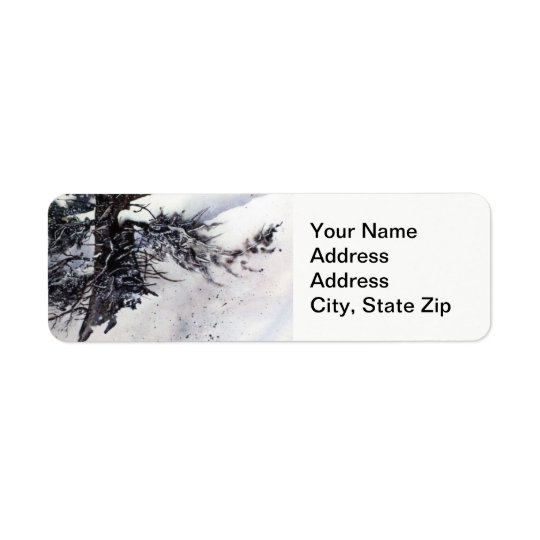 Winter snow with pine tree trunks cold landscape. return address label