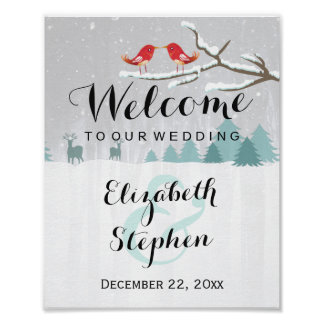 Winter Snow Wonderland Birds Reindeer Wedding Sign