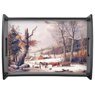 Winter Snow Wood Gathering Country Serving Tray