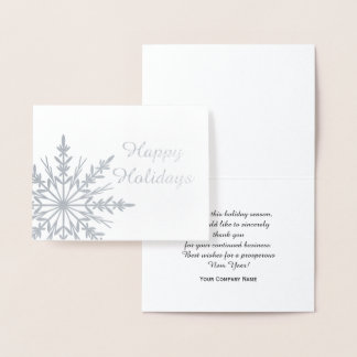 Winter Snowflake Business Happy Holidays Foil Card