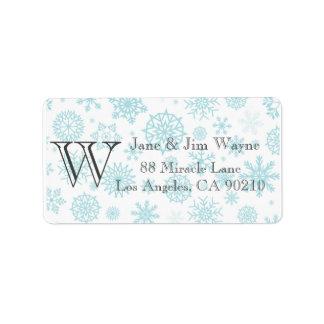 Winter Snowflake Christmas Gray Monogram labels 1