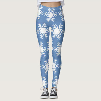 Winter Snowflake Cool Blue White Christmas Holiday Leggings