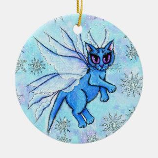 Winter Snowflake Fairy Cat Fantasy Art Ornament