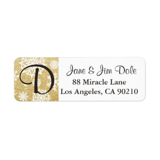 Winter Snowflake Gold Glitter Black Monogram l Return Address Label