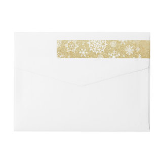 Winter Snowflake Gold Glitter Black Monogram Label
