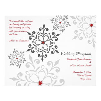 Winter Snowflake Holiday Wedding Program Flyers