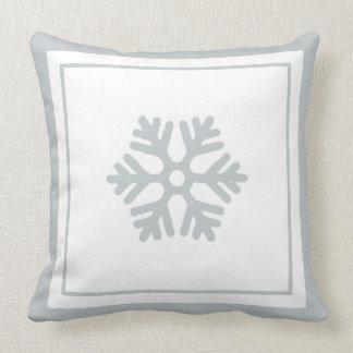 Winter Snowflake Ice Blue White Christmas Pillow