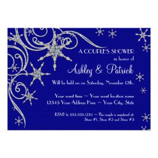 Winter Snowflake Jewels Bling Swirl Shower Invites