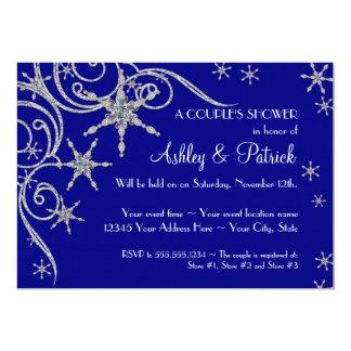 "Winter Snowflake Jewels Bling Swirl Shower Invites 5"" X 7"" Invitation Card"
