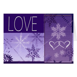 Winter Snowflake Love in purple Greeting Card