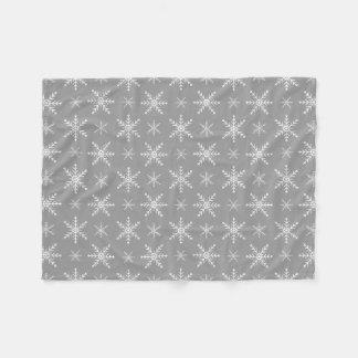 Winter Snowflake Pattern On Grey Fleece Blanket