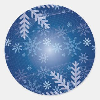 Winter Snowflake Pattern Round Sticker