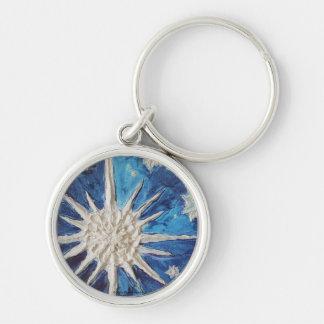 Winter Snowflake Round Keychain