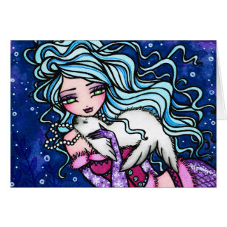 Winter Snowflake Seal Mermaid Fantasy Art Card