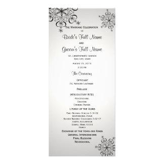 Winter Snowflake Silver Grey Wedding Program Rack Card