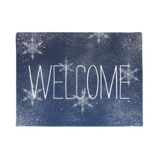 Winter snowflake snow navy blue Christmas Doormat