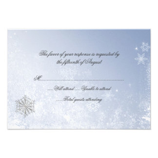 Winter Snowflake Wedding Response Card Custom Invites