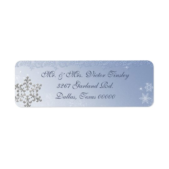 Winter Snowflake Wedding Return Address Label