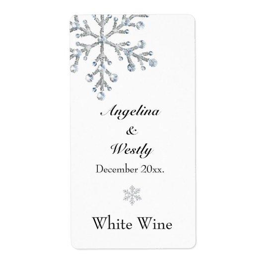 Winter Snowflake Wedding Wine Label Shipping Label
