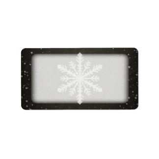 Winter Snowflake White Chalk Drawing Address Label