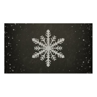 Winter Snowflake White Chalk Drawing Business Card Templates